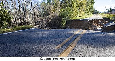 Hurricane Matthew Damage in North Carolina - Roadway that...