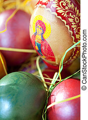 Close up on easter painted eggs