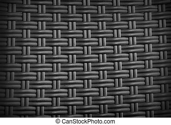 Black rattan weave texture background for your design