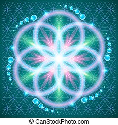 Flower of Life - Symbols of sacred geometry, depict...