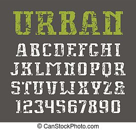 Slab serif font in urban style with shabby texture. Print on...