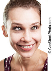 Funny woman with eyes crossed - Face of funny woman with...