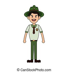 forest ranger icon - happy Forest ranger icon over white...