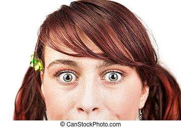 Amazed eyes of teen young woman - Amazed eyes of teen young...
