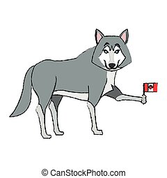 wolf cartoon icon - wolf cartoon with flag of canada over...