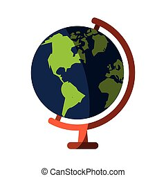 earth planet icon over white background. colorful design....