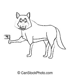 wolf cartoon icon over white background. vector illustration