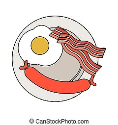 breakfast food design - plate with fried egg, bacon and...