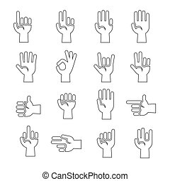 Hands gestures vector icons set in black and white