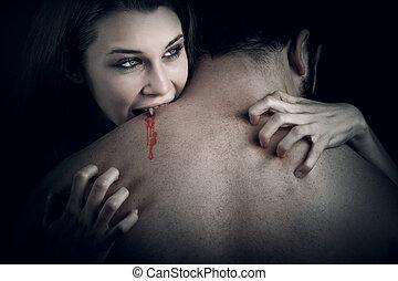 szeret, Vér, -, vámpír, nő,...