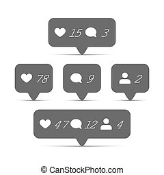 Follower, comment and like it vector icons set. Symbol for...