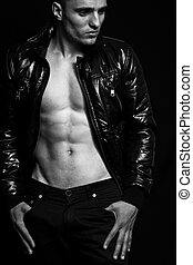 Fashion - handsome sexy man with nice abdomen