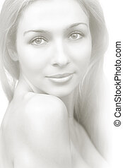 Artistic drawing portrait of sensual pure woman