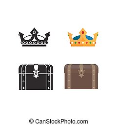 Medieval icons of chest and crown - Medieval icons of chest,...