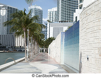 Miami City Riverwalk - The view of Miami Riverwalk with...
