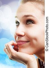 Pensive happy beautiful young woman - Bright portrait of...