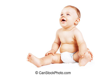 Funny happy baby boy isolated on white background