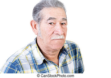 Serious mature male with mustache - One serious mature male...