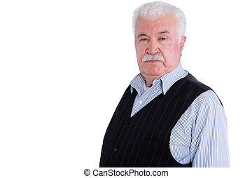 Angry senior man with mustache over white - Firm and angry...
