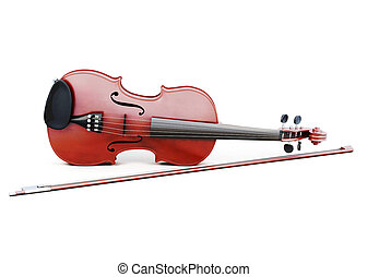 Violin and bow isolated on white background. 3d rendering.