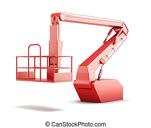 Cherry picker or boom lift isolated on white background. 3d...