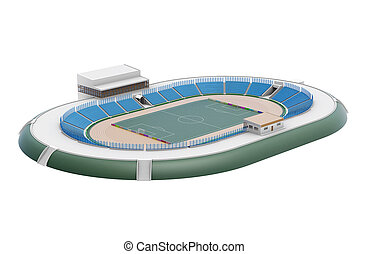 Sports stadium isolated on white background. 3d rendering