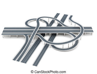 Road junction isolated on white background. 3d rendering.