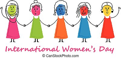International Women's Day - Colorful stick figure women are...