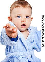 Cute baby boy with hand forward - Cute baby boy reaching...