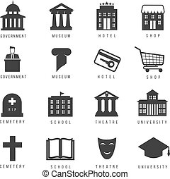 Municipal houses and icons. Town government signs....