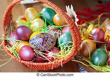 Easter painted eggs in a basket