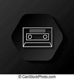 retro casette icon - hexagon button with retro casette icon...
