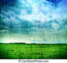 Grungy nature backdrop - grass and cloudy sky - Grungy...