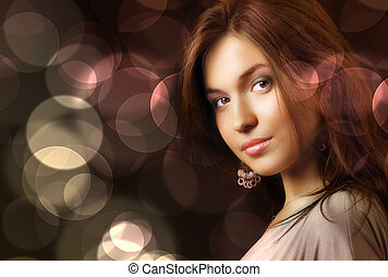 Beautiful woman and glamour city night lights - Beautiful...