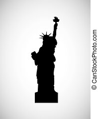 travel and tourism design - liberty statue icon over white...