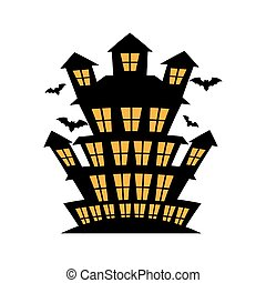celebration card halloween scene vector illustration design