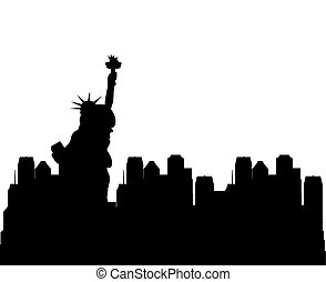 travel and tourism design - silhouette of new york city with...