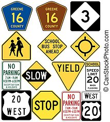 Road signs in the United States. Non-compliant to MUTCD...