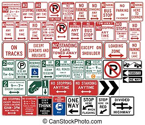 Road signs in the United States. One Way and Divided...