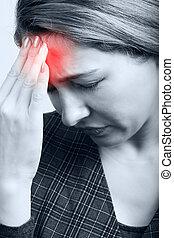 cansado, mujer, dolor de cabeza, o, Migraña