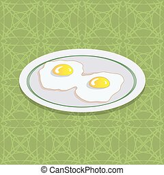 Two Fried Eggs on White Plate
