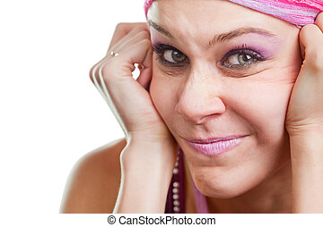 Woman with funny grimace on face