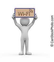 3d man holding engraved banner word text wifi - 3d rendering...