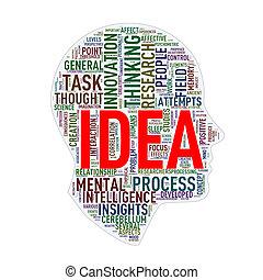 Human head wordcloud tags idea - Illustration of human head...