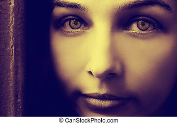 Artistic portrait of mystery woman with spooky eyes -...