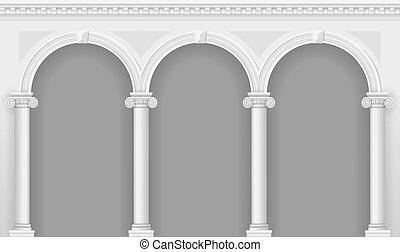 Antique white arcade with Ionic columns. Three arched...