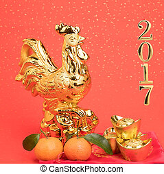 2017 is year of the Rooster,Gold Rooster,Chinese calligraphy...