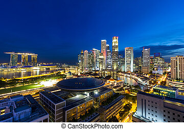 Singapore Central Business District Cityscape at Blue Hour -...