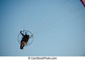 motor, paramotor, voando, céu, extremo, Pára-quedas, piloto,...
