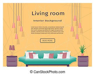 Graceful bright living room interior banner for your web...